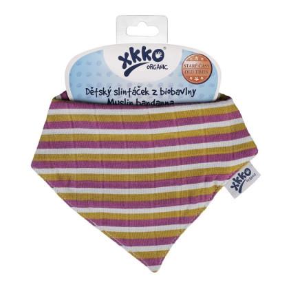 Šatka XKKO Organic Staré časy - Violet Stripes