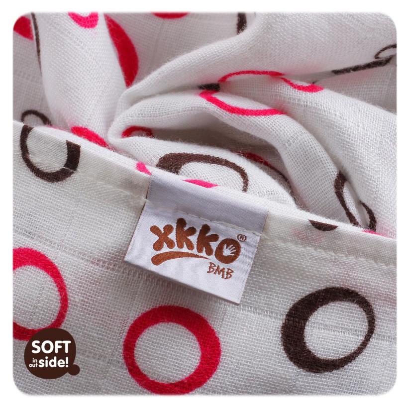 Bambusové plienky XKKO BMB 70x70 - Spirals&Bubbles Magenta MIX 10x3ks VO bal.