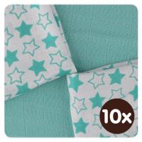 Bambusové obrúsky XKKO BMB 30x30 - Little Stars Turquoise MIX 10x9ks VO bal.
