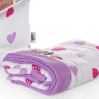 Bambusová mušelínová deka XKKO BMB 100x100 - Lilac Hearts