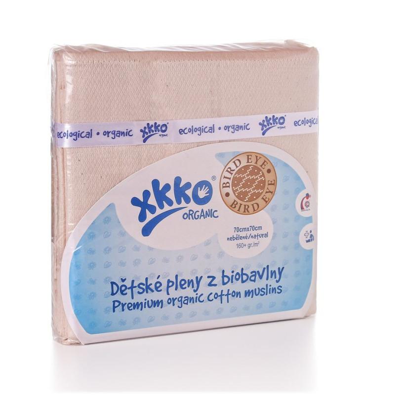 Plienky z biobavlny XKKO Organic 70x70 Bird Eye - Natural 5x5ks VO bal.