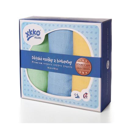 Osušky z biobavlny XKKO Organic 90x100 Staré časy - Pastels For Boys