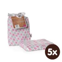 Bambusová zavinovačka XKKO BMB 120x120 - Scandinavian Baby Pink Cross 5x1ks VO bal.