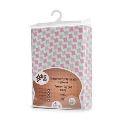 Bambusové posteľné prestieradlo XKKO BMB 120x60 - Baby Pink Cross