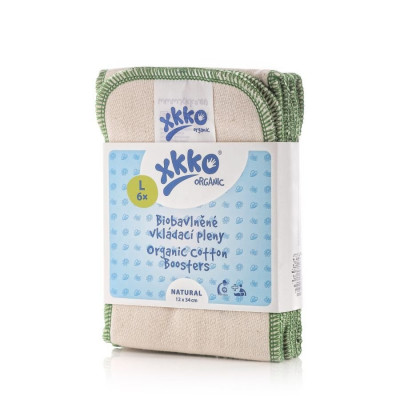 Vkladacie plienky XKKO Organic Twill - Natural Veľkosť L (6ks)