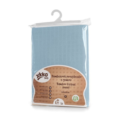 Bambusové posteľné prestieradlo XKKO BMB 120x60 - Baby Blue