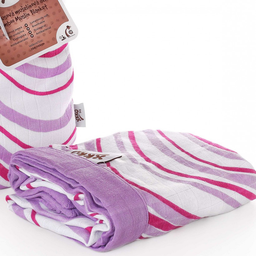 Bambusová mušelínová deka XKKO BMB 100x100 - Lilac Waves