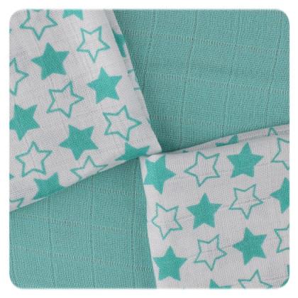 Bambusové obrúsky XKKO BMB 30x30 - Little Stars Turquoise MIX