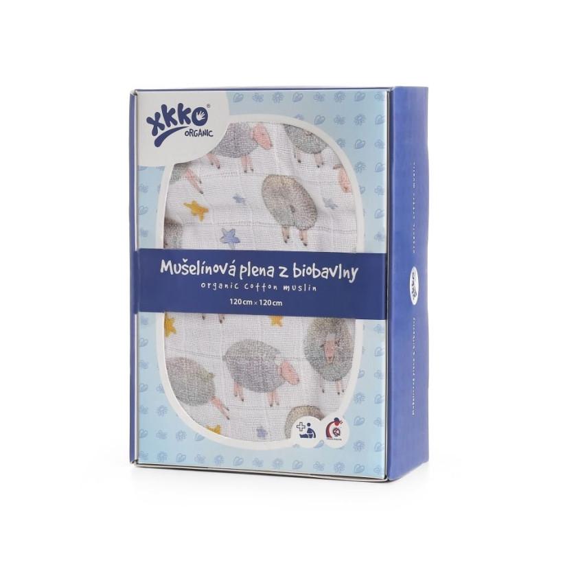 Biobavlnená plienka XKKO Organic 120x120 - Dreamy Sheeps