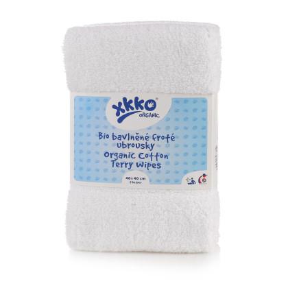 BIO bavlnené obrúsky XKKO Organic 40x40 - White