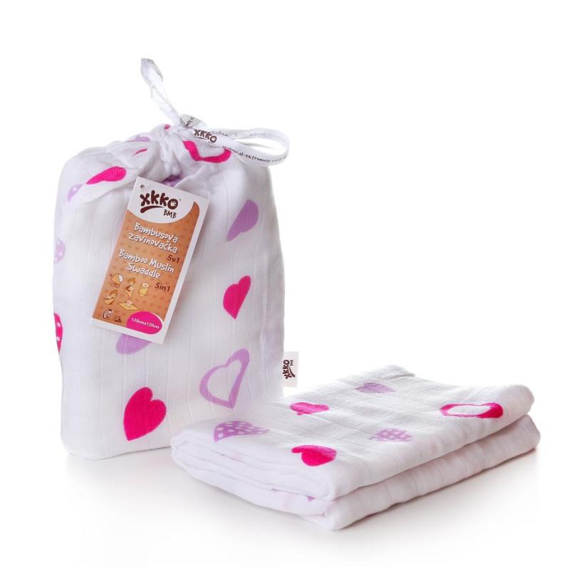 Bambusová zavinovačka XKKO BMB 120x120 - Lilac Hearts