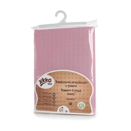 Bambusové posteľné prestieradlo XKKO BMB 120x60 - Baby Pink