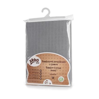 Bambusové posteľné prestieradlo XKKO BMB 120x60 - Baby Grey