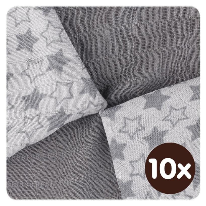 Bambusové obrúsky XKKO BMB 30x30 - Little Stars Silver MIX 10x9ks VO bal.