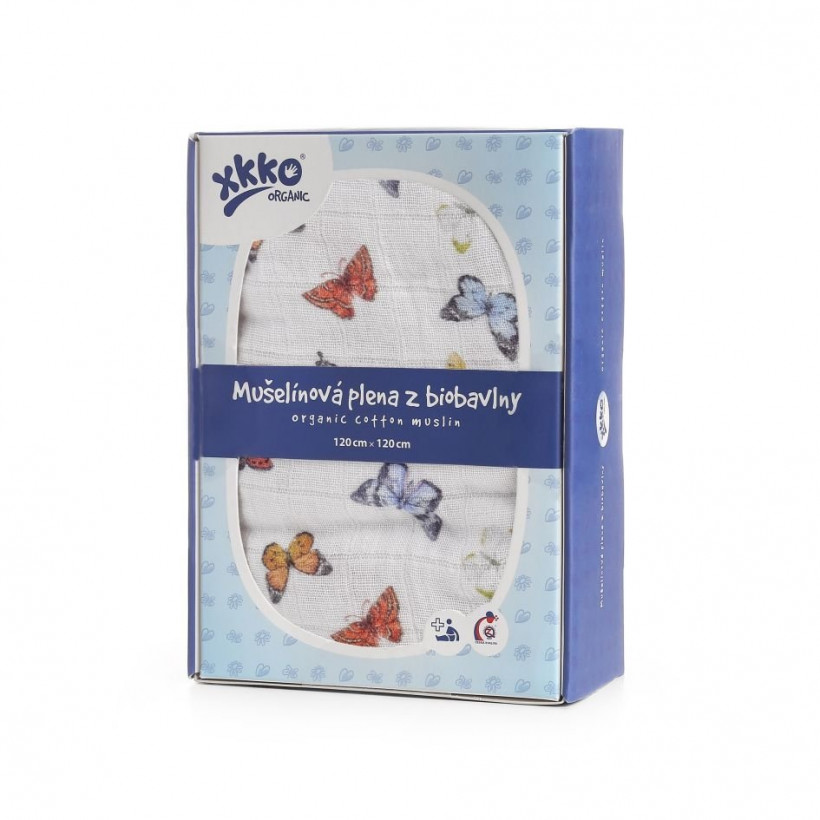 Biobavlnená plienka XKKO Organic 120x120 - Butterflies