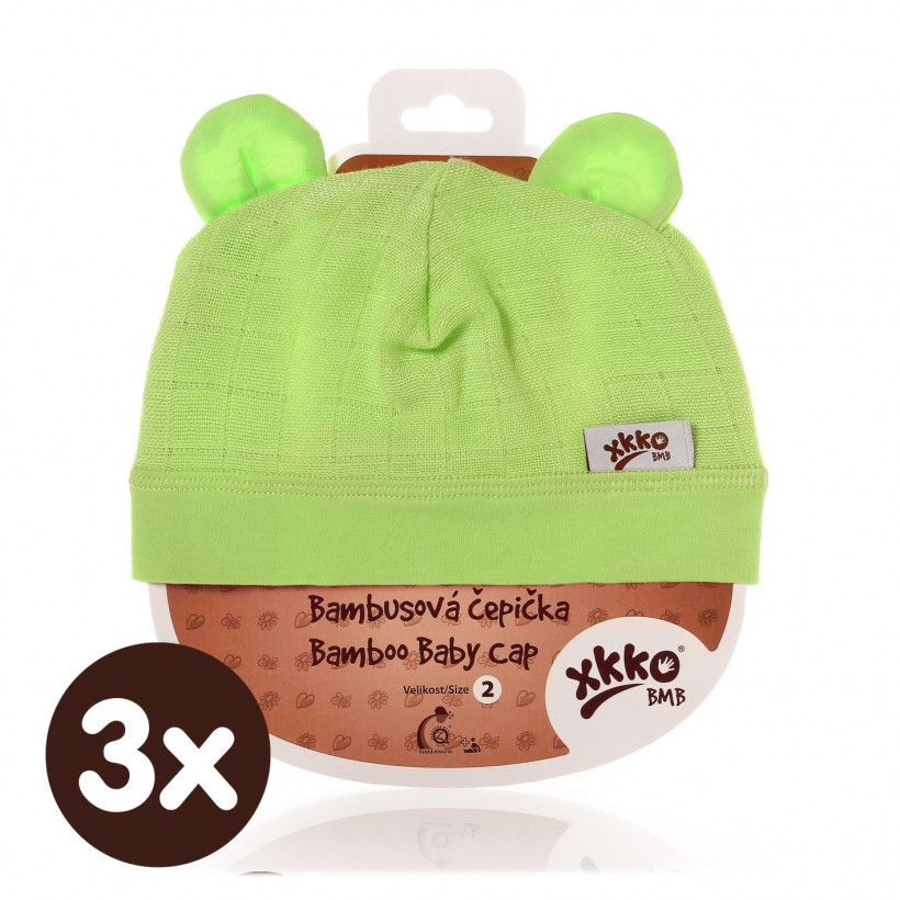 Bambusová čiapočka XKKO BMB - Lime 3x1ks VO bal.