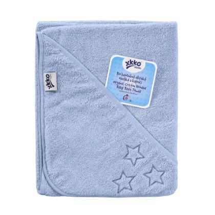 BIO Bavlnená froté osuška s kapucňou XKKO Organic 90x90 - Baby Blue Stars