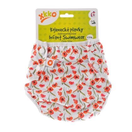Jednoveľkostné dojčenské plavky XKKO - Red Poppies