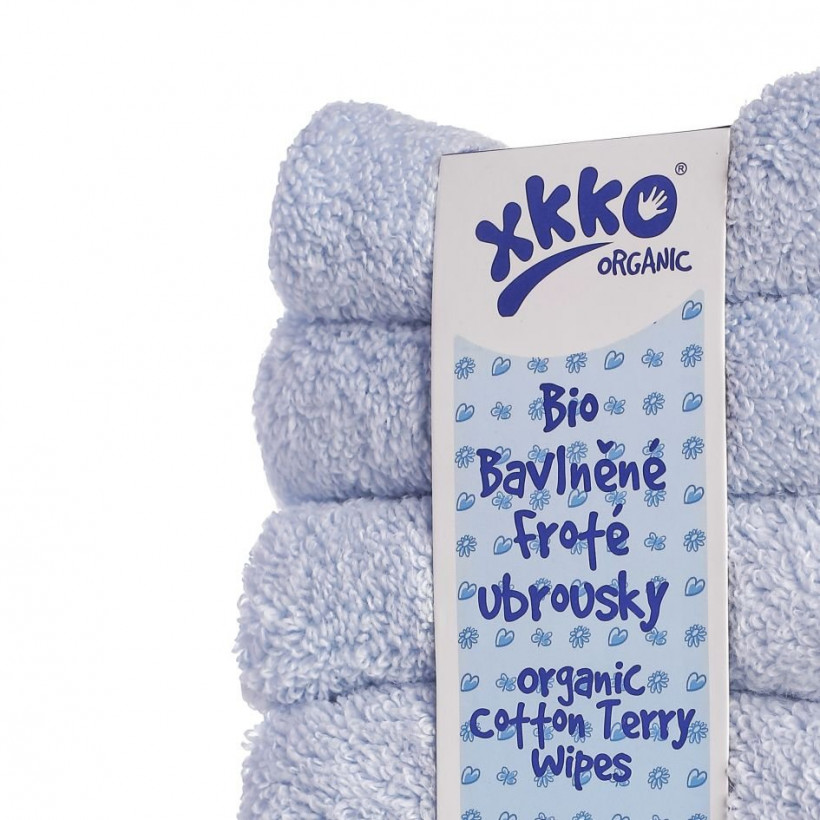 BIO bavlnené obrúsky XKKO Organic 21x21 - Baby Blue