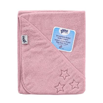 BIO Bavlnená froté osuška s kapucňou XKKO Organic 90x90 - Baby Pink Stars