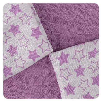 Bambusové obrúsky XKKO BMB 30x30 - Little Stars Lilac MIX