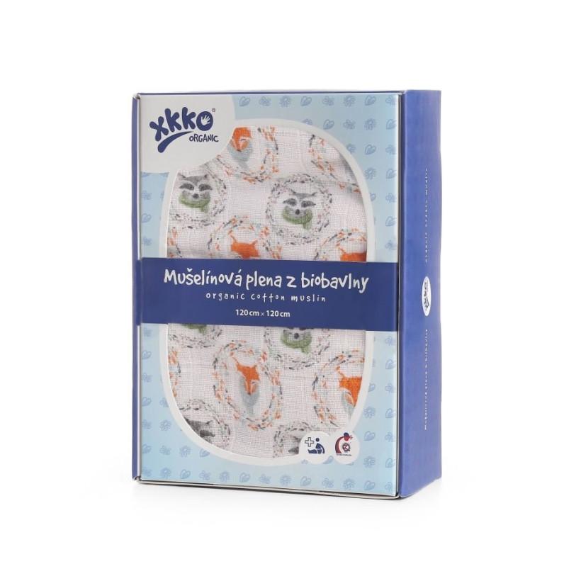 Biobavlnená plienka XKKO Organic 120x120 - Fox&Raccoon