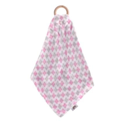Hryzátko XKKO BMB s plienkou - Baby Pink Cross