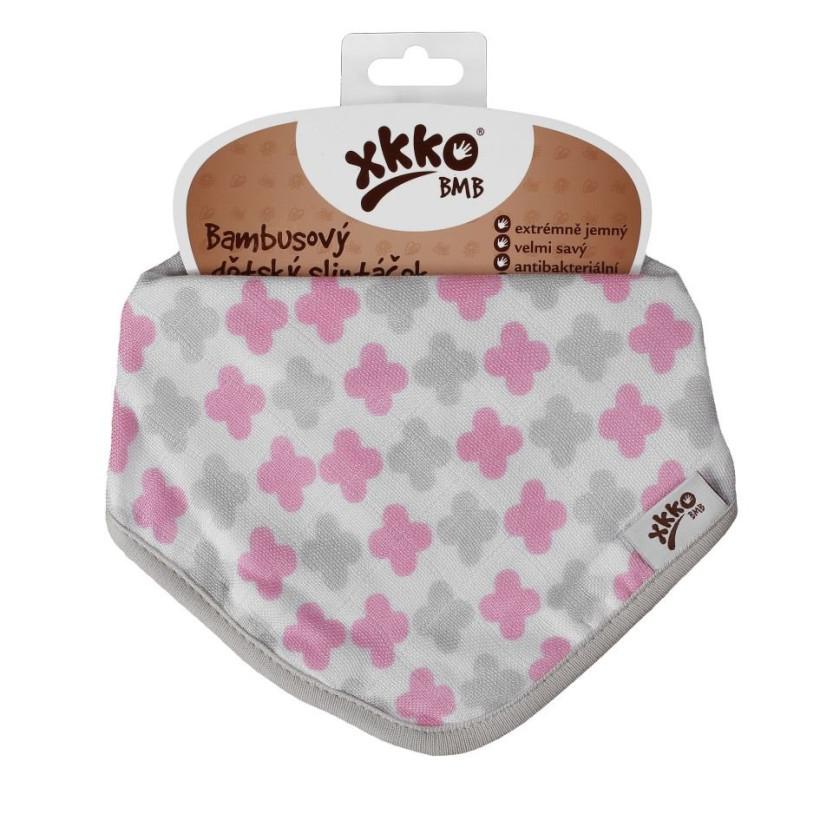 Bambusová šatka XKKO BMB - Scandinavian Baby Pink Cross 3x1ks VO bal.