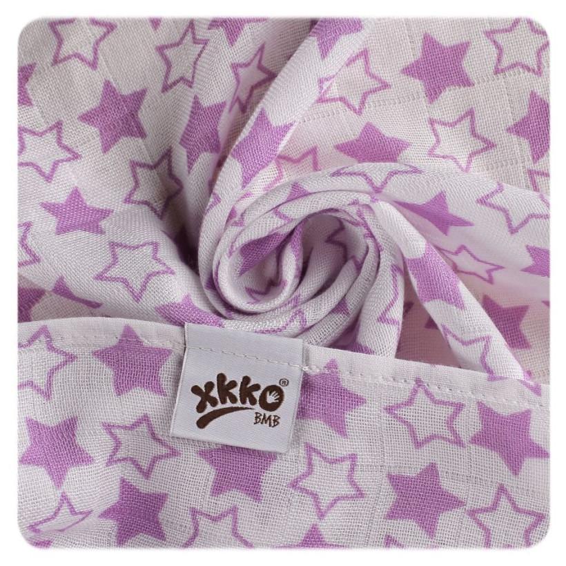 Bambusová zavinovačka XKKO BMB 120x120 - Little Stars Lilac 5x1ks VO bal.