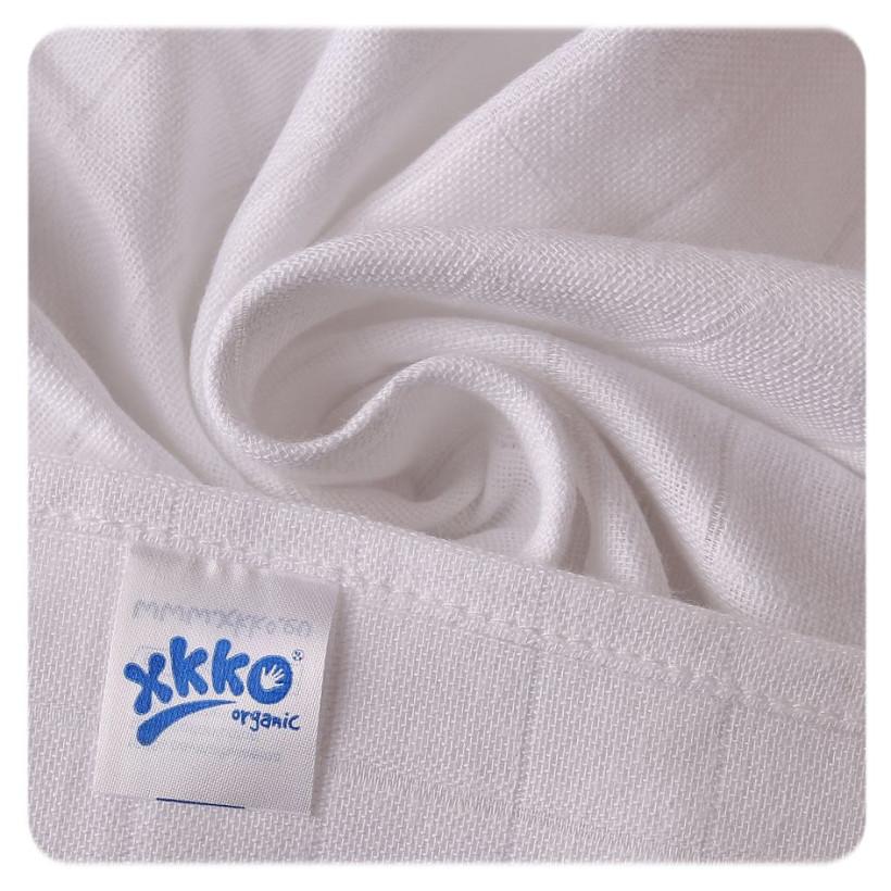 Plienky z biobavlny XKKO Organic 70x70 Staré časy - Biele 5x5ks VO bal.