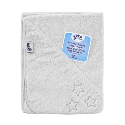 BIO Bavlnená froté osuška s kapucňou XKKO Organic 90x90 - White Stars
