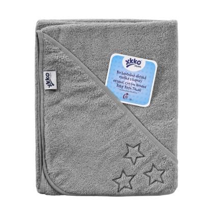 BIO Bavlnená froté osuška s kapucňou XKKO Organic 90x90 - Silver Stars