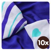 Bambusové obrúsky XKKO BMB 30x30 - Hearts&Waves Ocean Blue MIX  10x9ks VO bal.