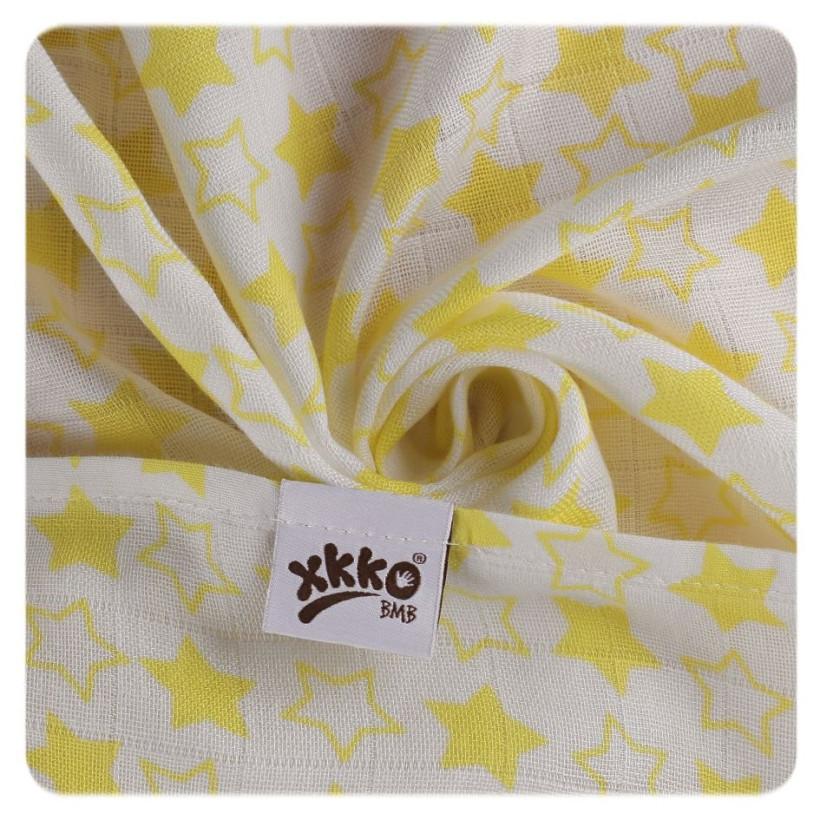 Bambusové plienky XKKO BMB 70x70 - Little Stars Lemon MIX 3ks